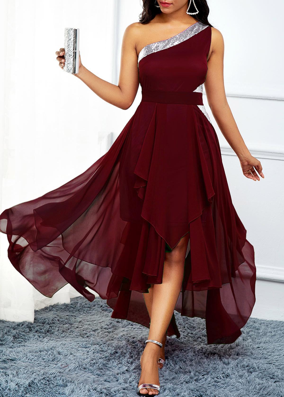 One Shoulder Asymmetric Hem High Waist Dress