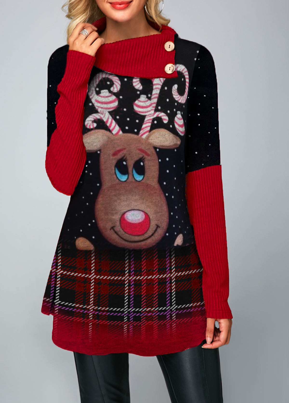 Christmas Print Button Detail Long Sleeve Sweater