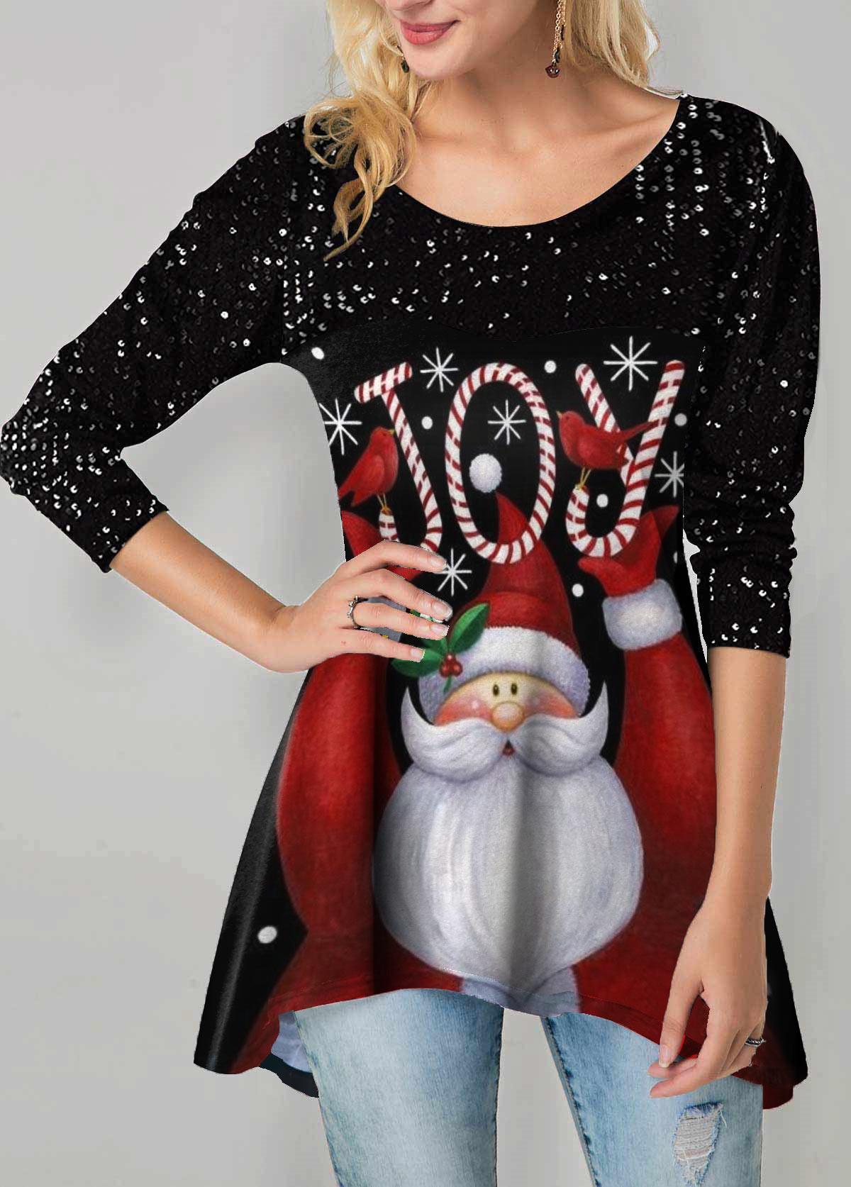 Santa Claus Print Sequin Detail Sharkbite Hem T Shirt