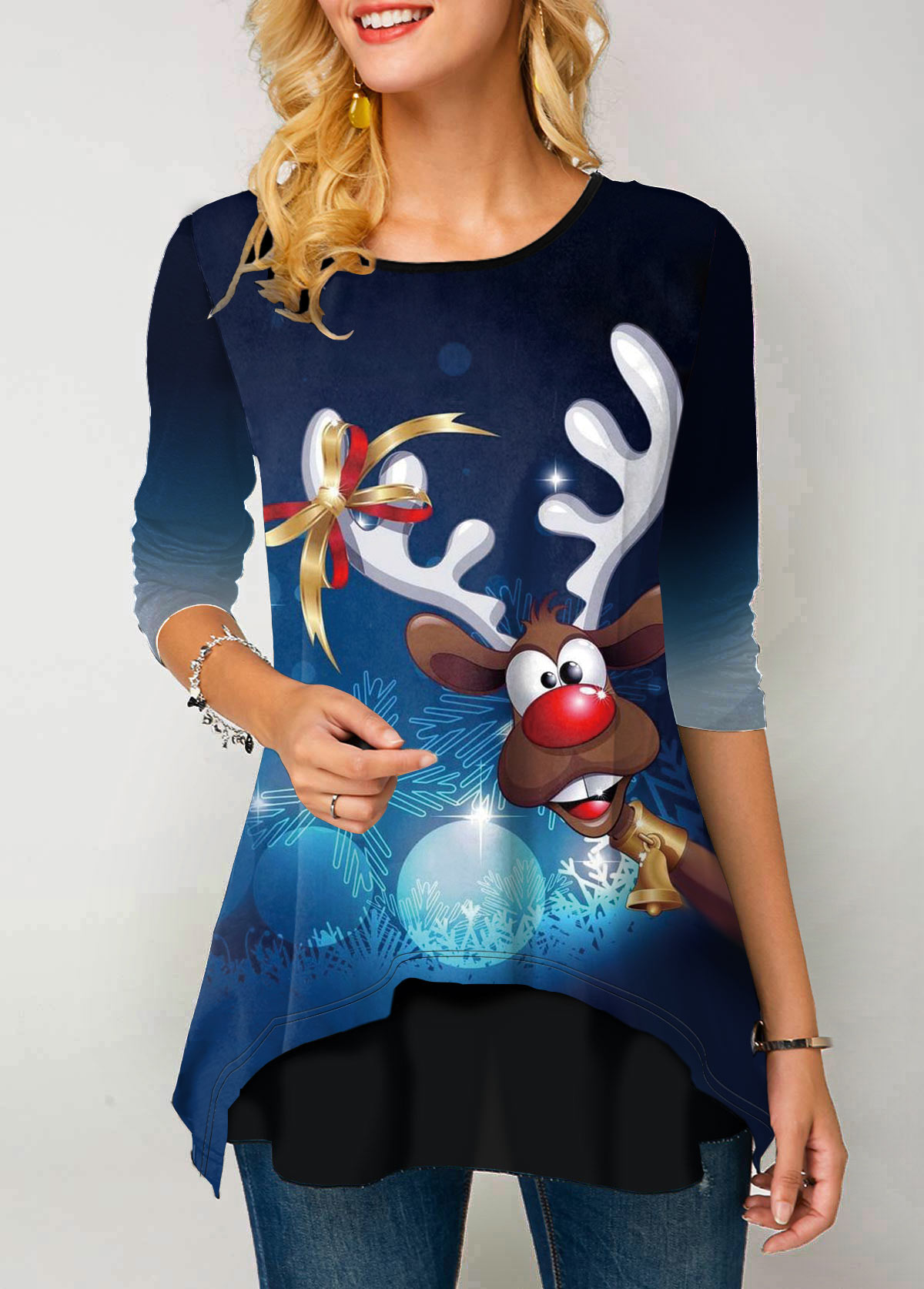 Christmas Reindeer Print Gradient Long Sleeve T Shirt