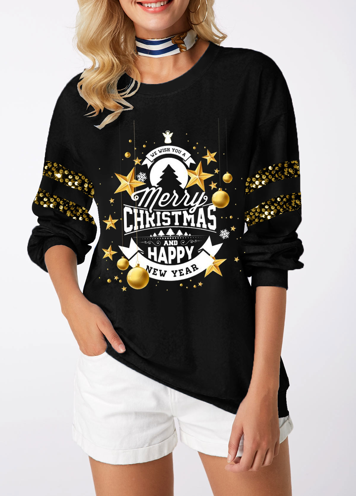 Christmas Print Sequin Embellished Long Sleeve Sweatshirt