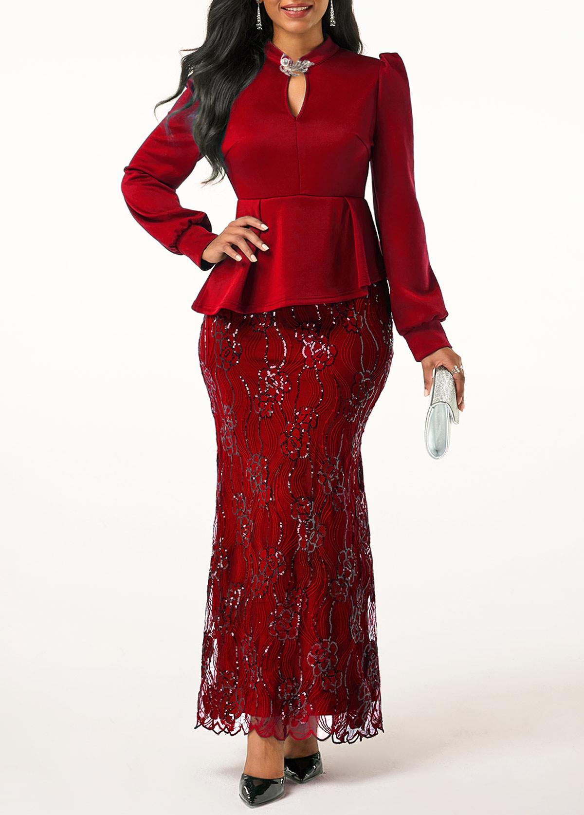 Peplum Waist Lace Patchwork Wine Red Dress