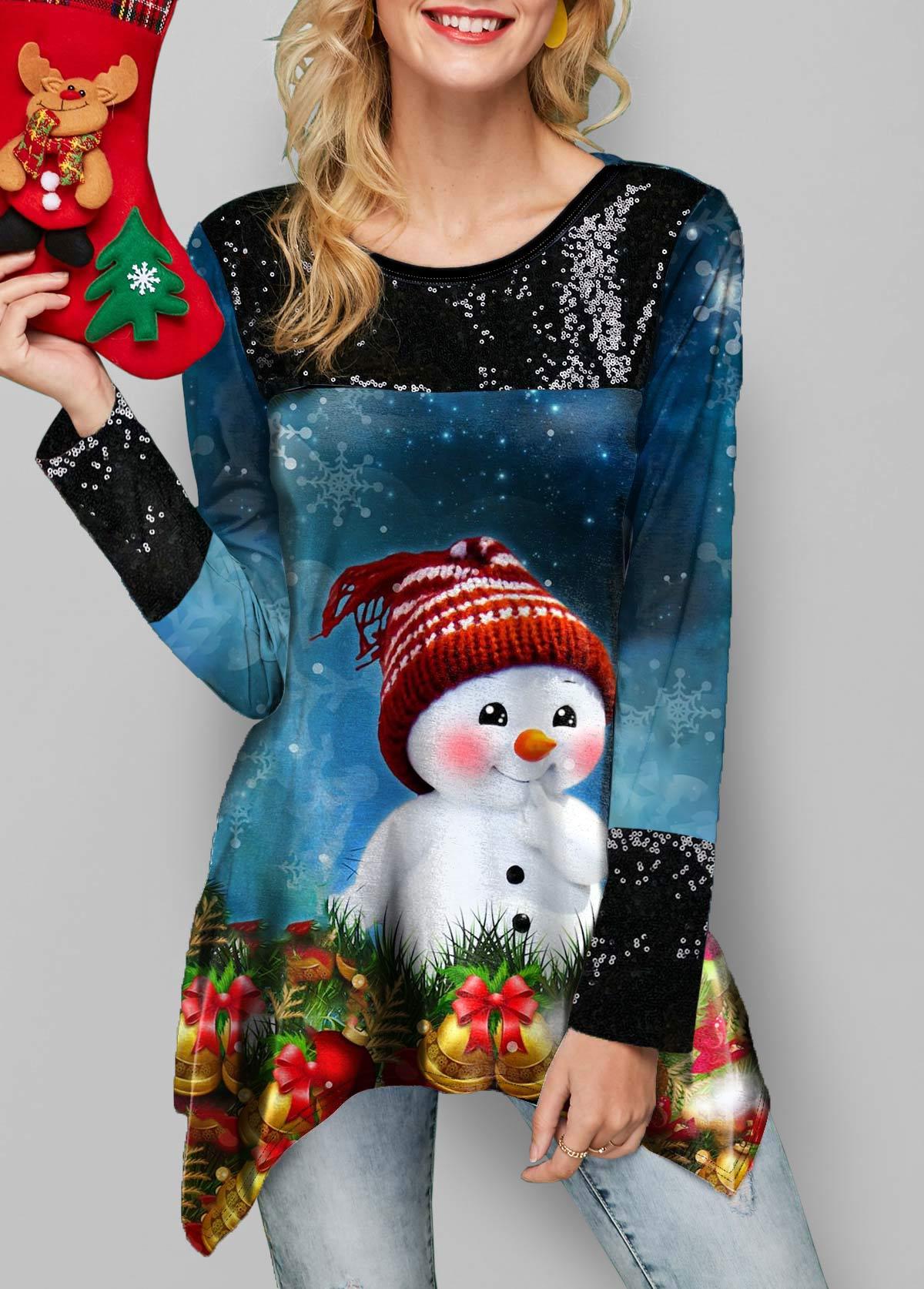 Christmas Snowman Print Sequin Detail Gradient Sweatshirt