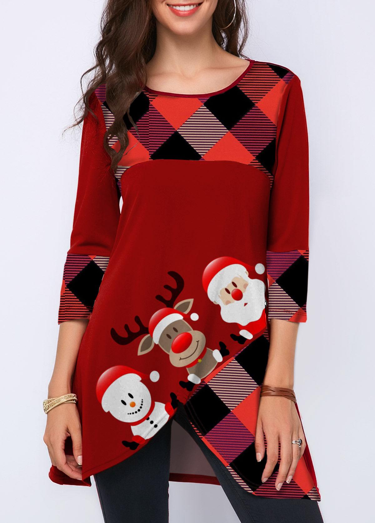 Christmas Print Crossover Hem Three Quarter Sleeve T Shirt