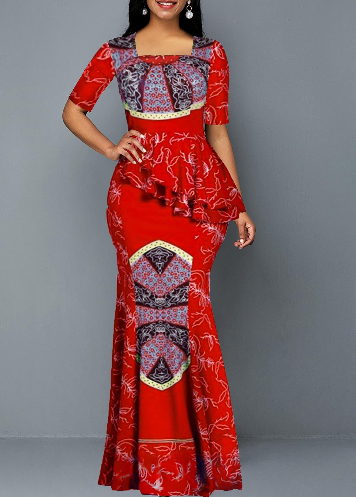 Tribal Print Ruffle Trim Half Sleeve Maxi Dress