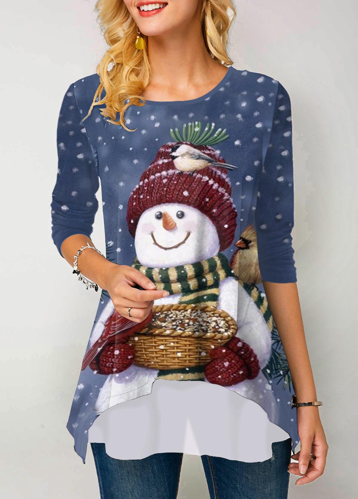 Christmas Snowman Print Round Neck Long Sleeve T Shirt