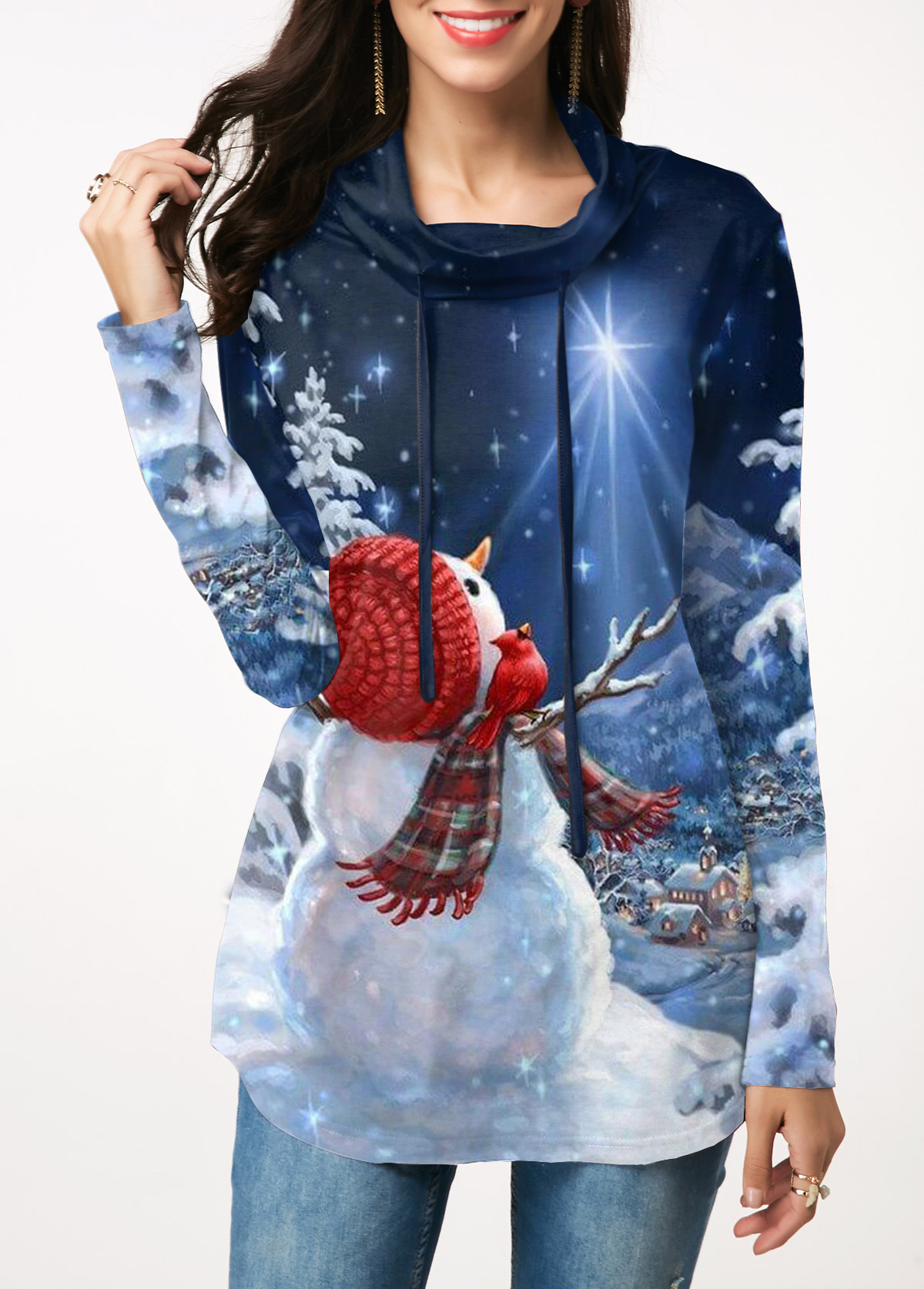 Christmas Print Long Sleeve Blue Sweatshirt