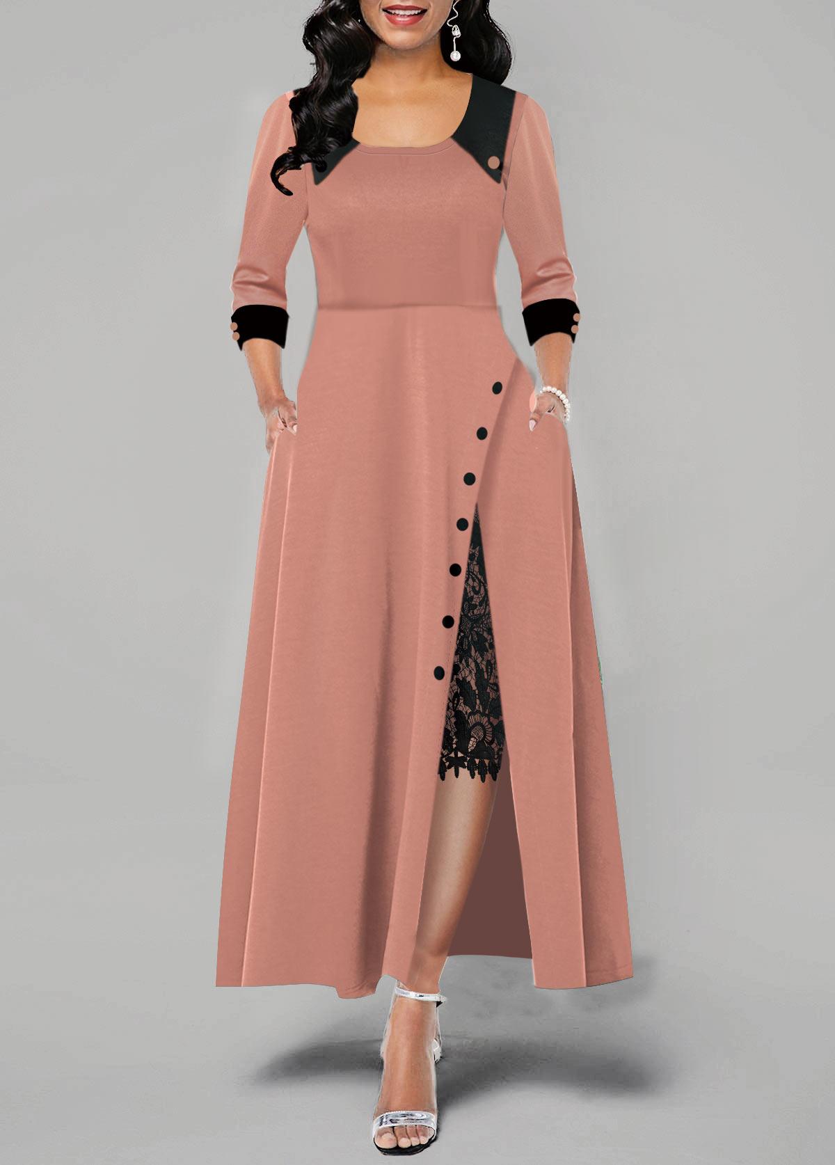 Lace Panel Button Detail Side Slit Maxi Dress