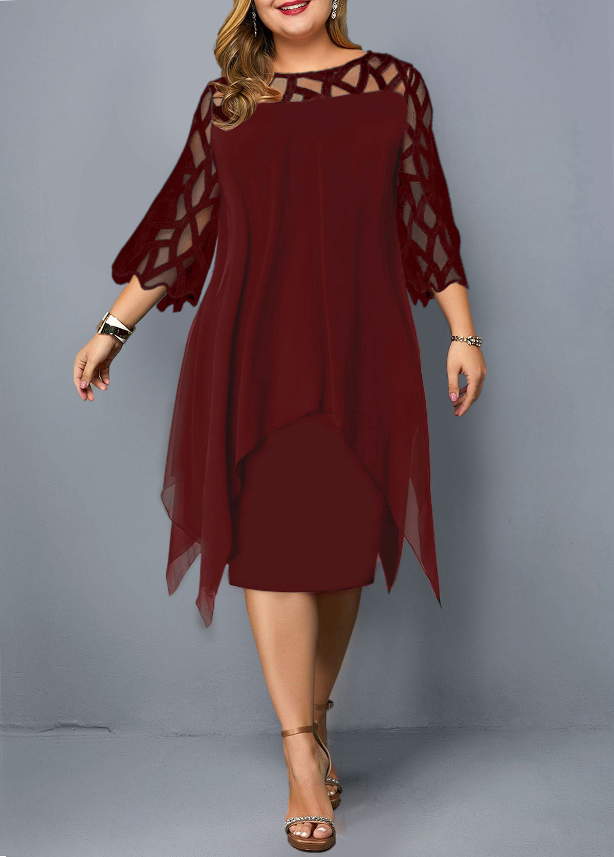 Plus Size Wine Red Three Quarter Sleeve Dress
