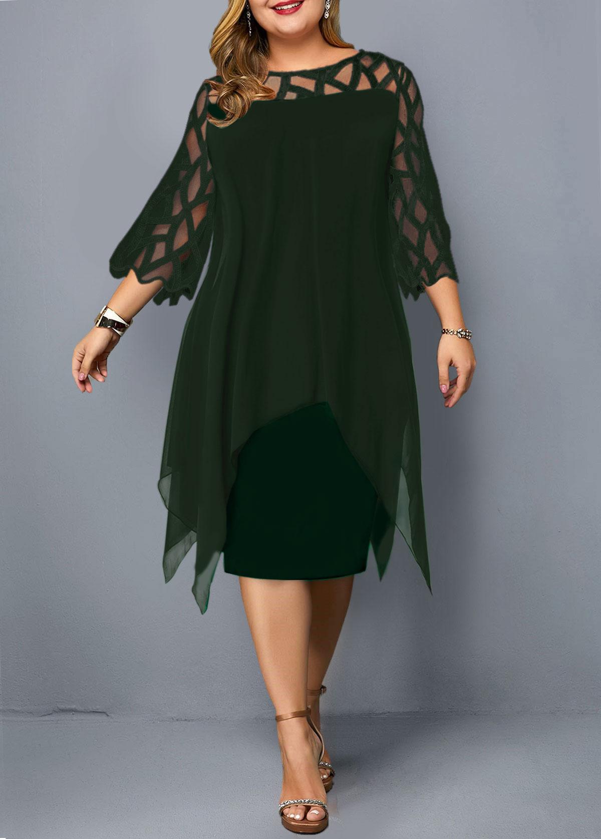 Plus Size Mesh Panel Overlay Embellished Dress