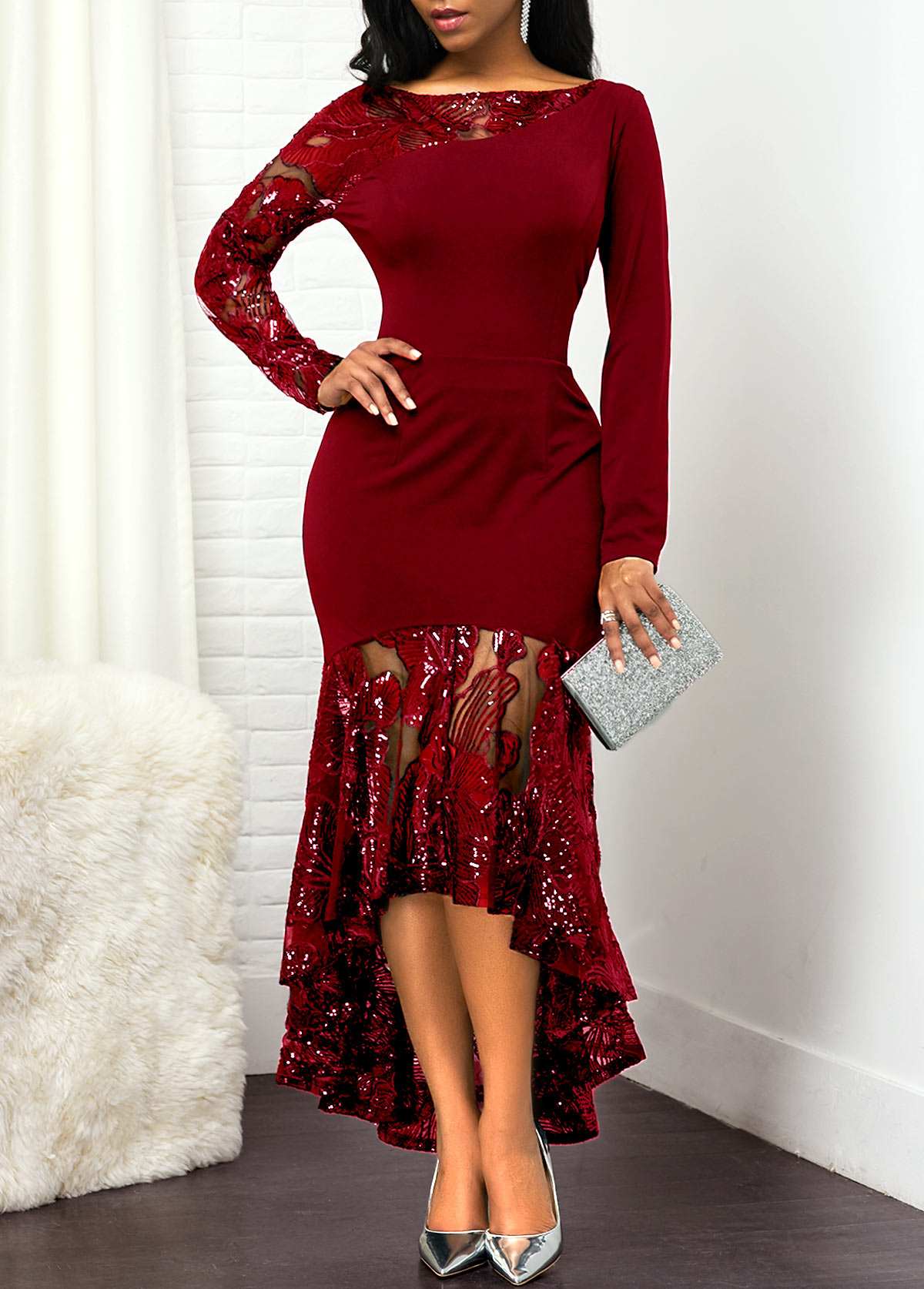 Lace Panel Long Sleeve Sequin Embellished Dress