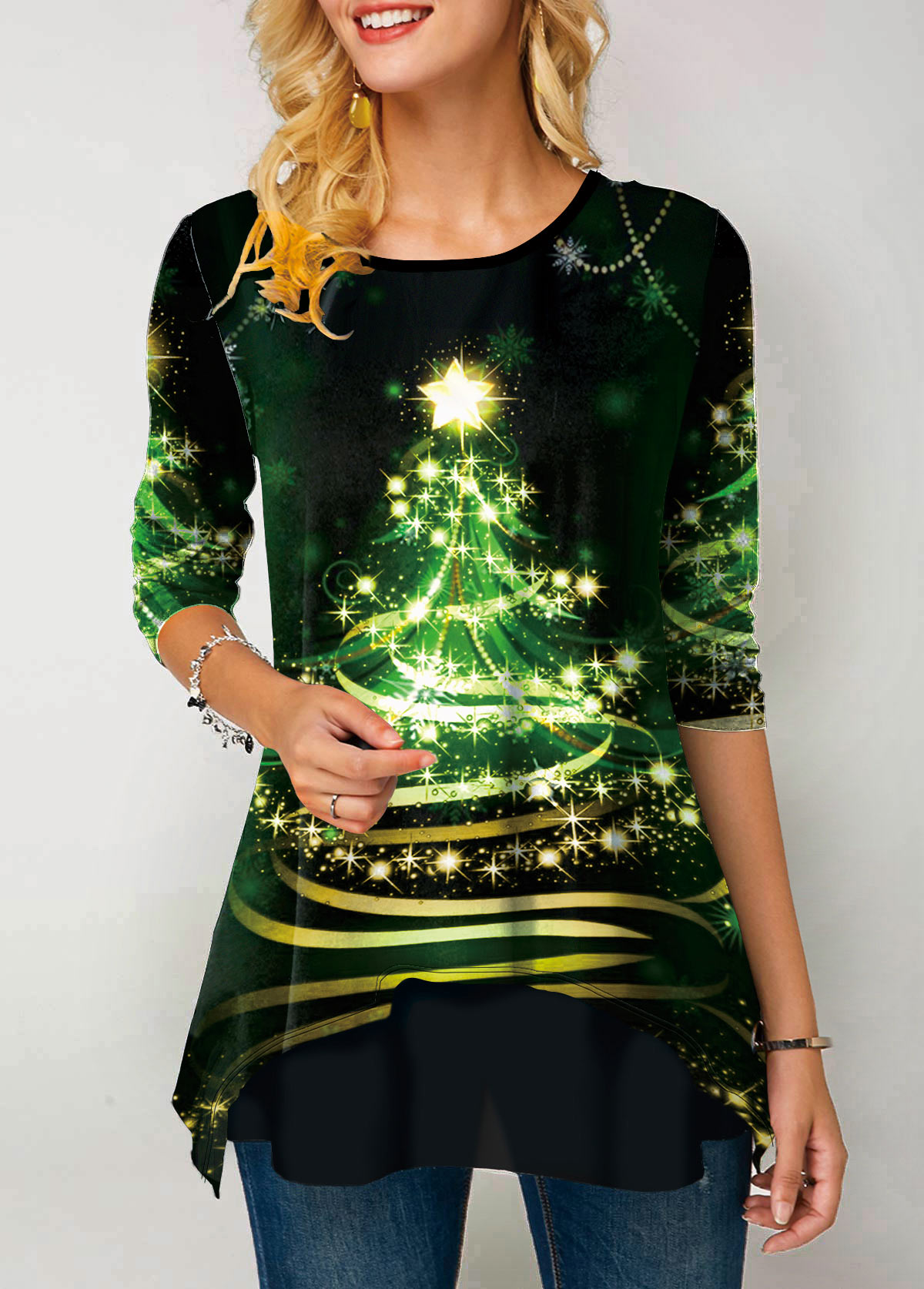 Christmas Print Round Neck Three Quarter Sleeve T Shirt