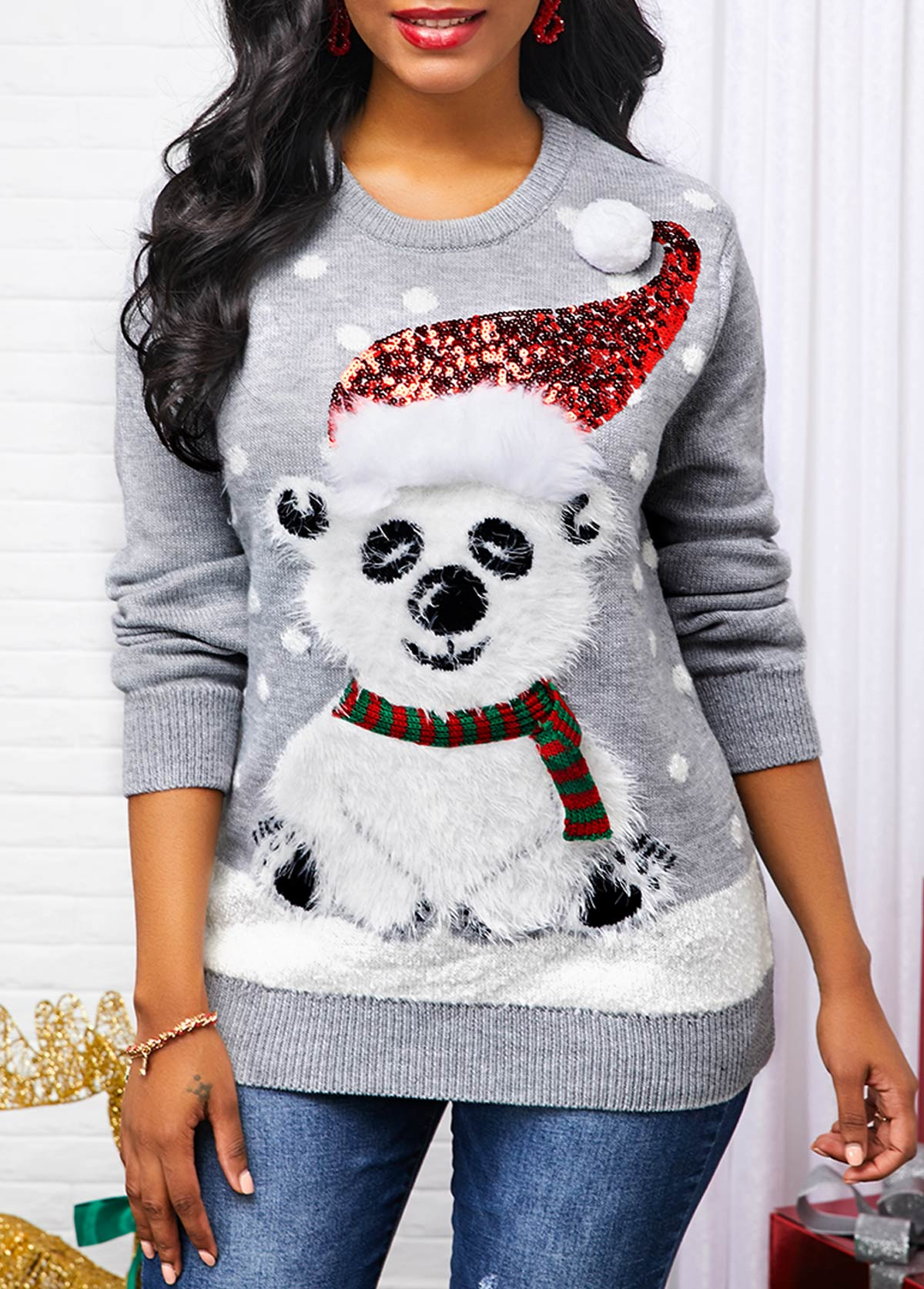 Sequin Embellished Christmas Pattern Long Sleeve Sweater