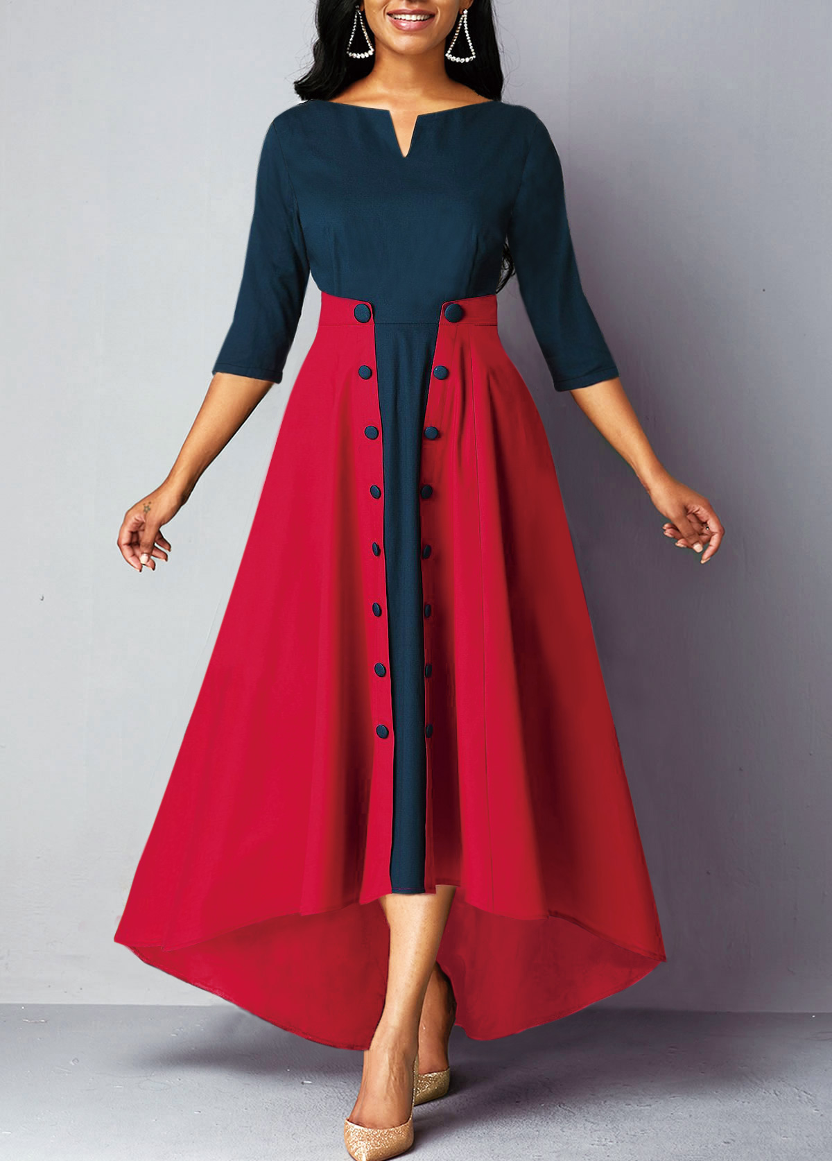 Split Neck Button Embellished High Waist Dress