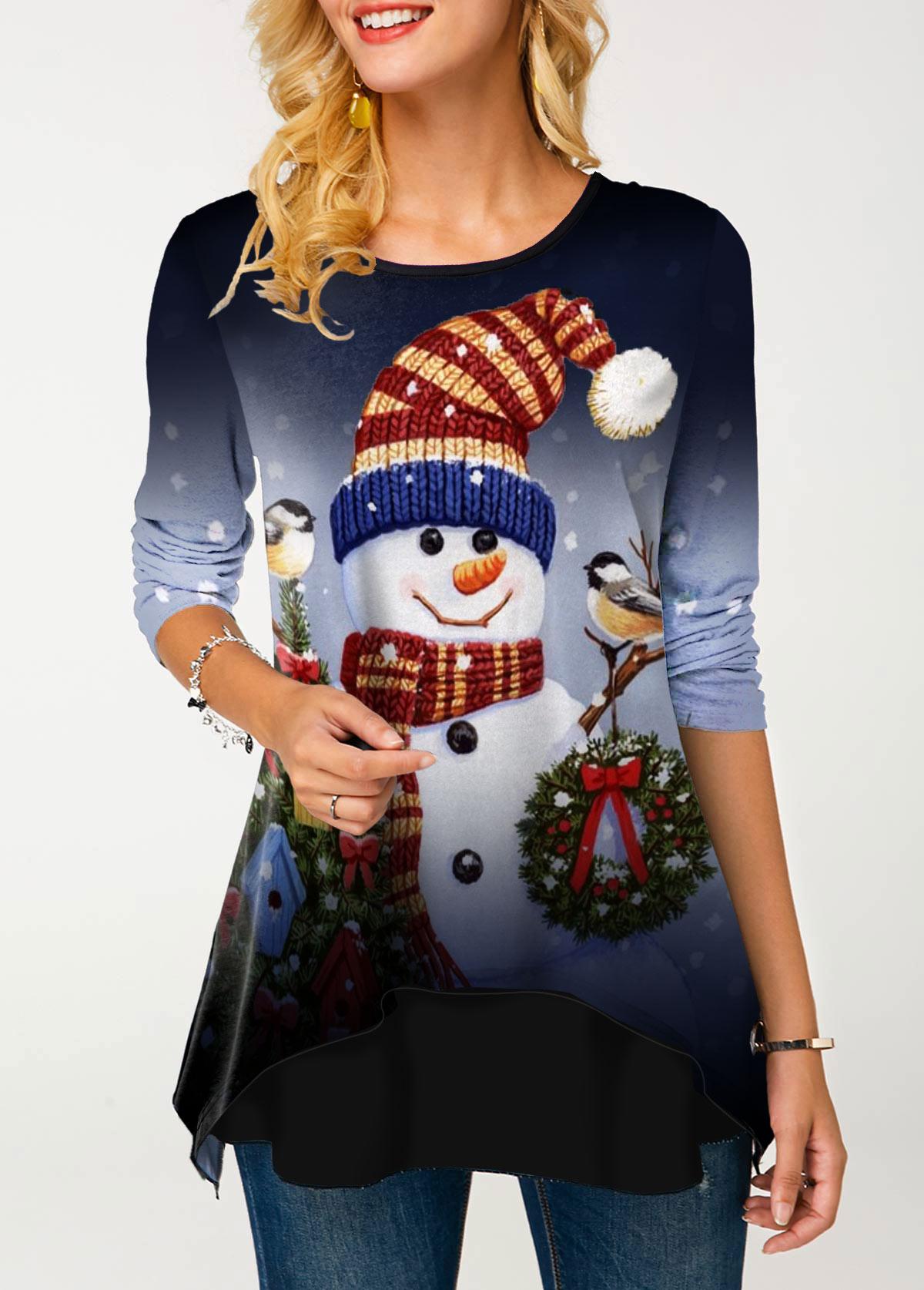 Christmas Snowman Print Layered Hem T Shirt