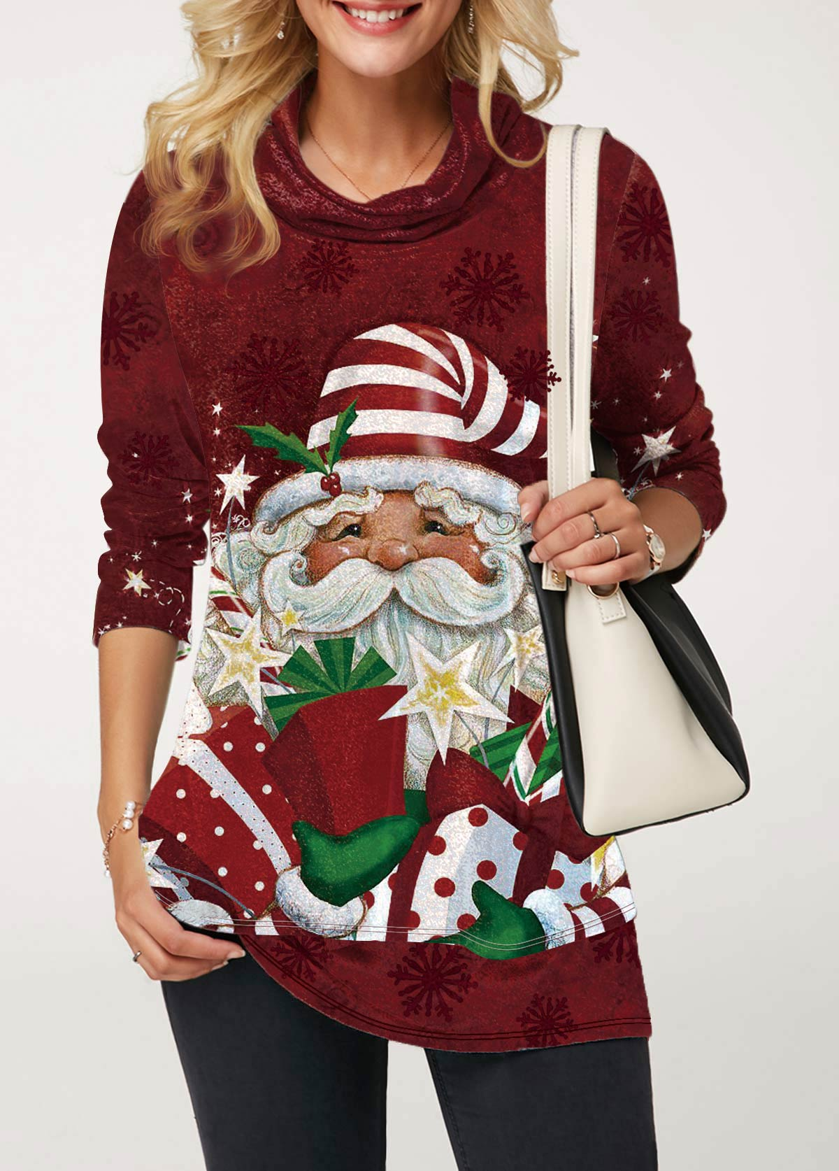 Christmas Print Red Long Sleeve Sweatshirt