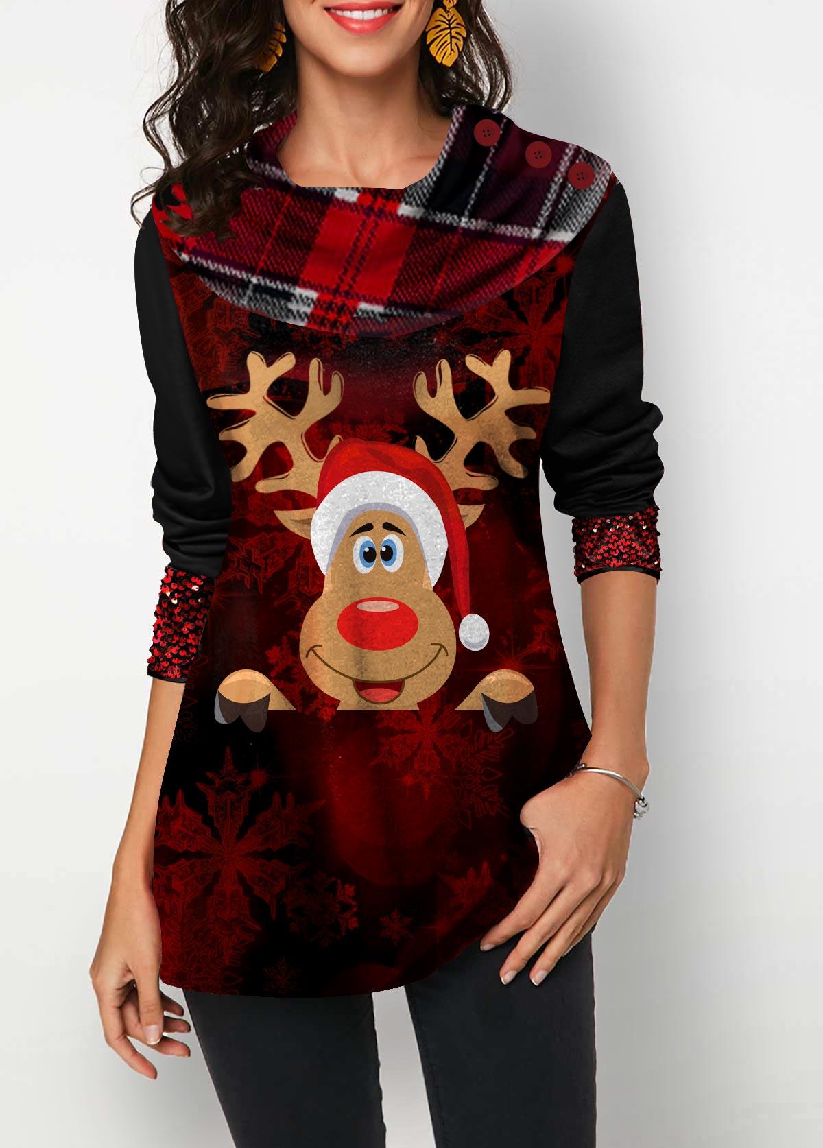Christmas Elk Print Long Sleeve T Shirt