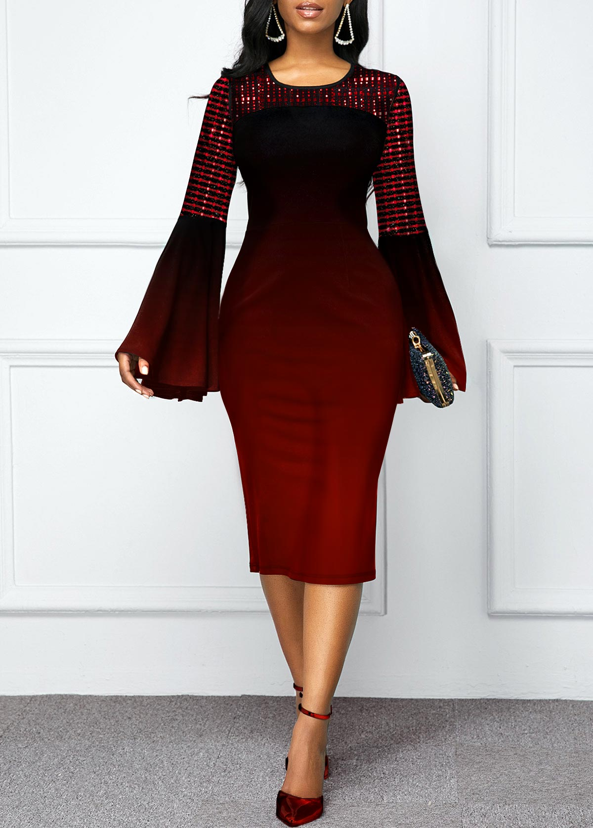 Flare Sleeve Ombre Round Neck Dress