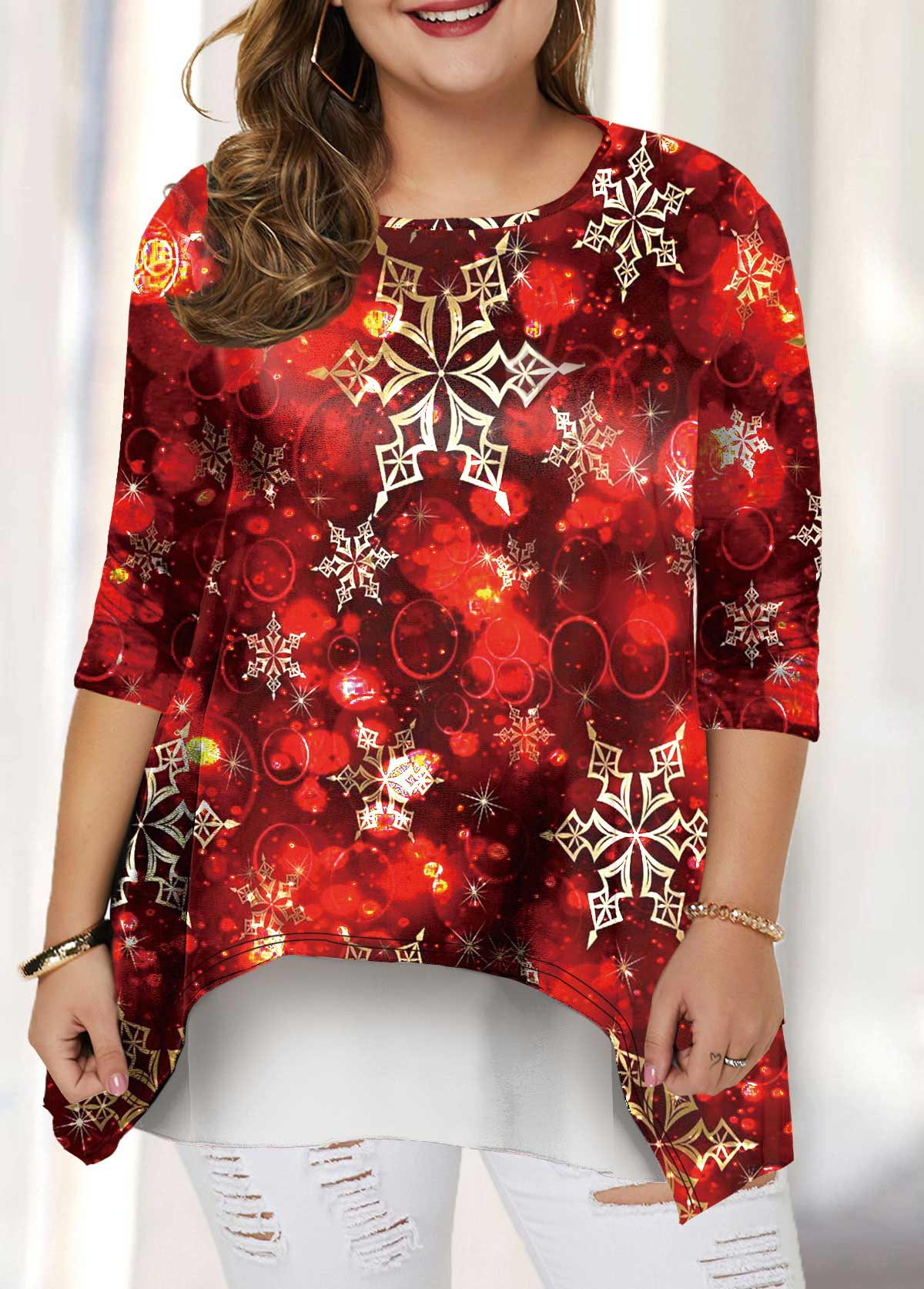 Plus Size Christmas Print Layered Hem T Shirt