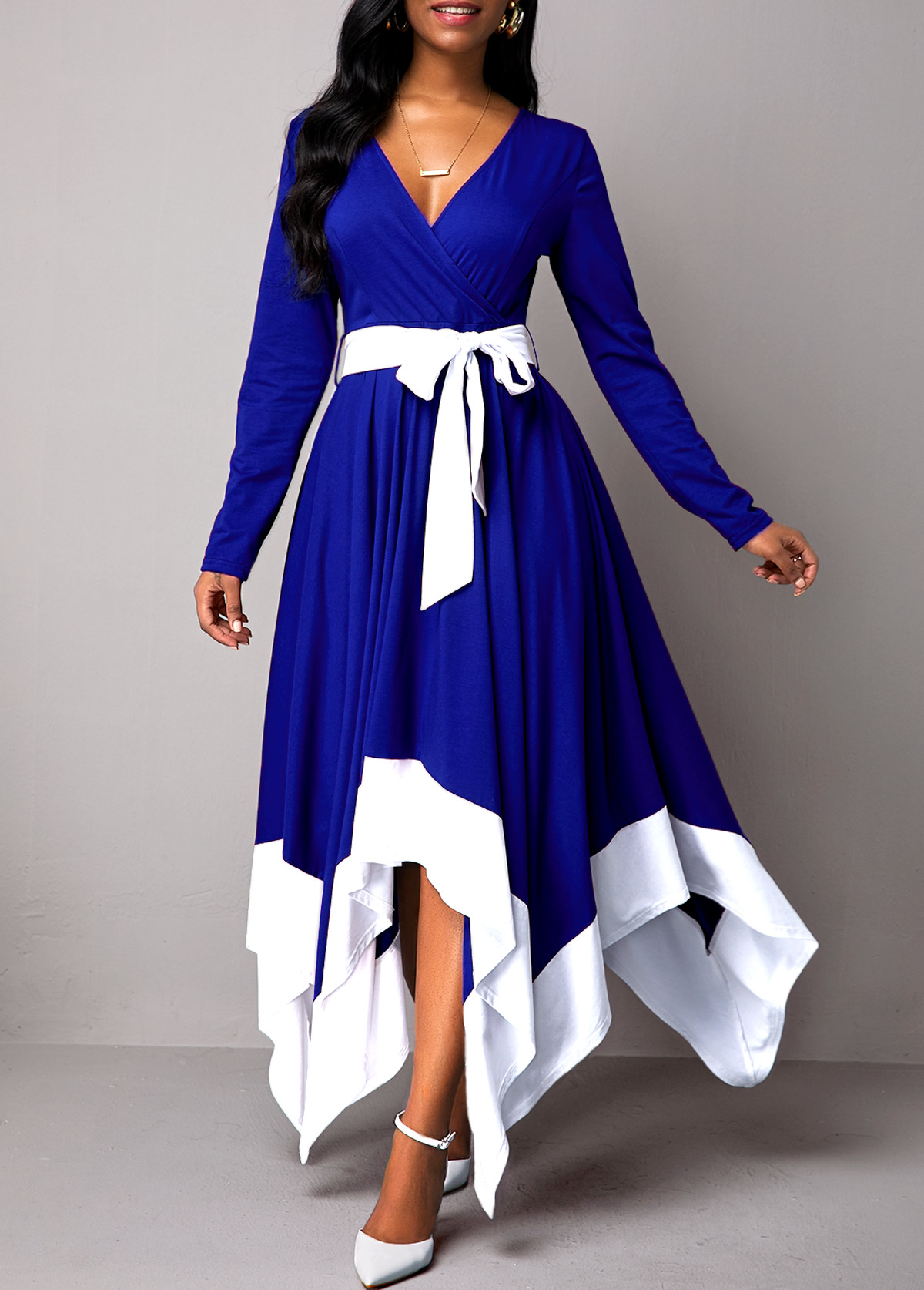 Belted Asymmetric Hem Contrast Panel Maxi Dress