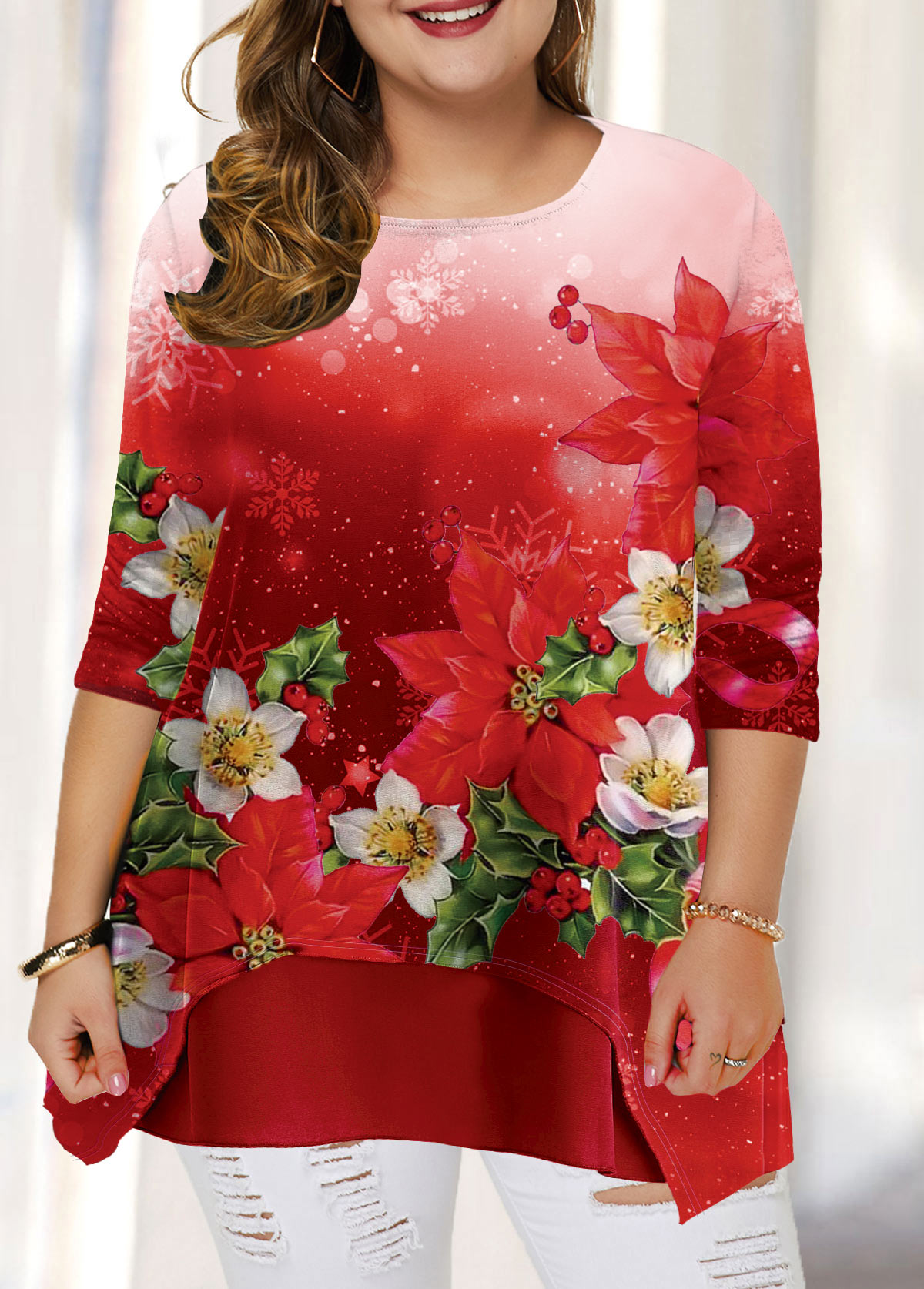 Plus Size Christmas Flower Print T Shirt