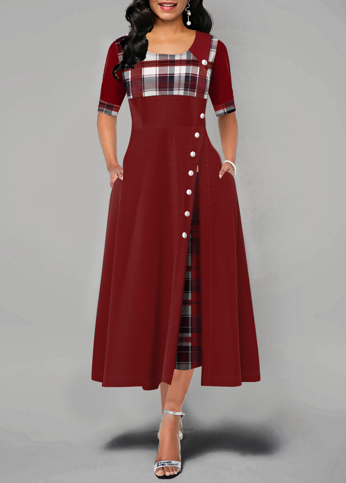 Plaid Print Button Detail Half Sleeve Maxi Dress