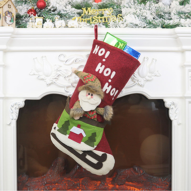 Red Santa Claus Pattern Christmas Socks for Decoration