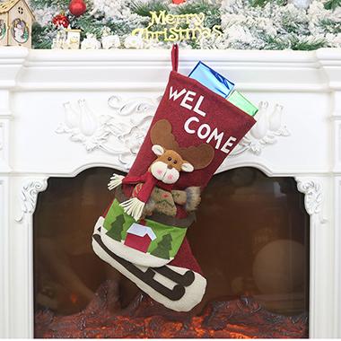 Christmas Design Red Socks for Decoration