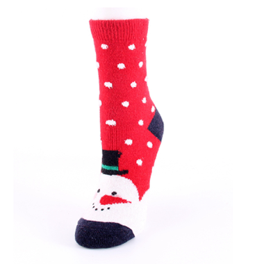 Red Snowman Pattern Contrast Panel Christmas Socks