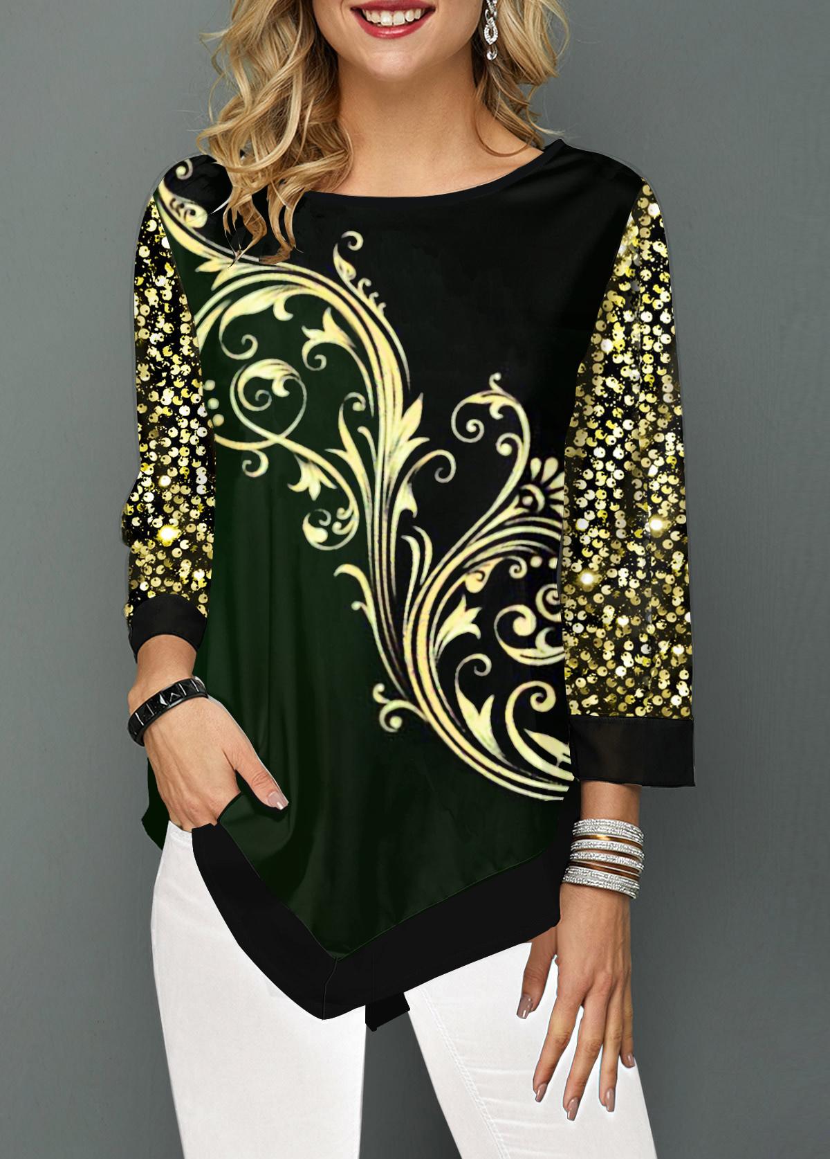 Sequin Embellished Asymmetric Hem Printed T Shirt