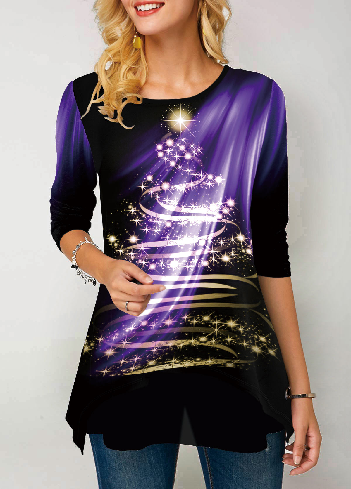 Round Neck Dazzle Color Printed T Shirt