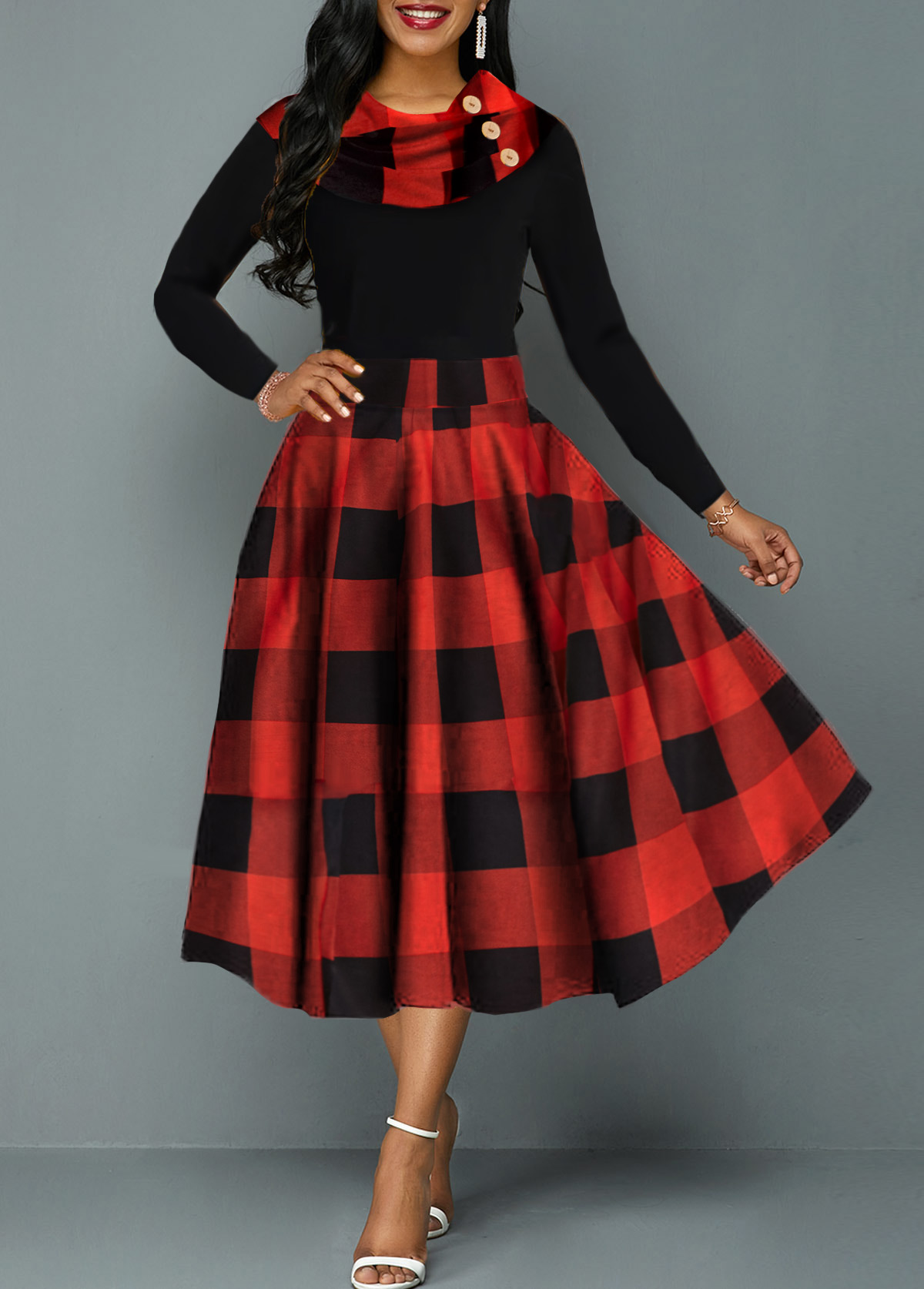 Plaid Print High Waist Long Sleeve Dress