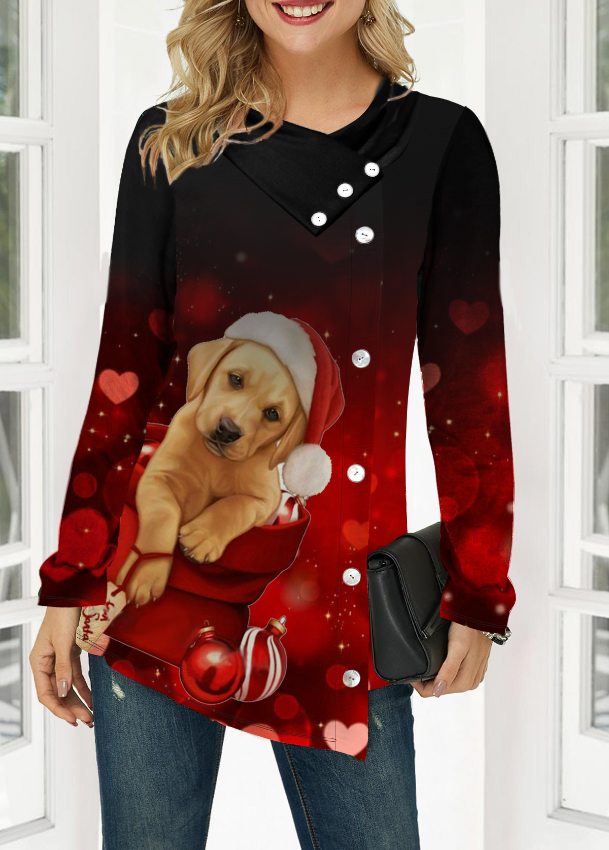 Dog Print Button Front Long Sleeve T Shirt
