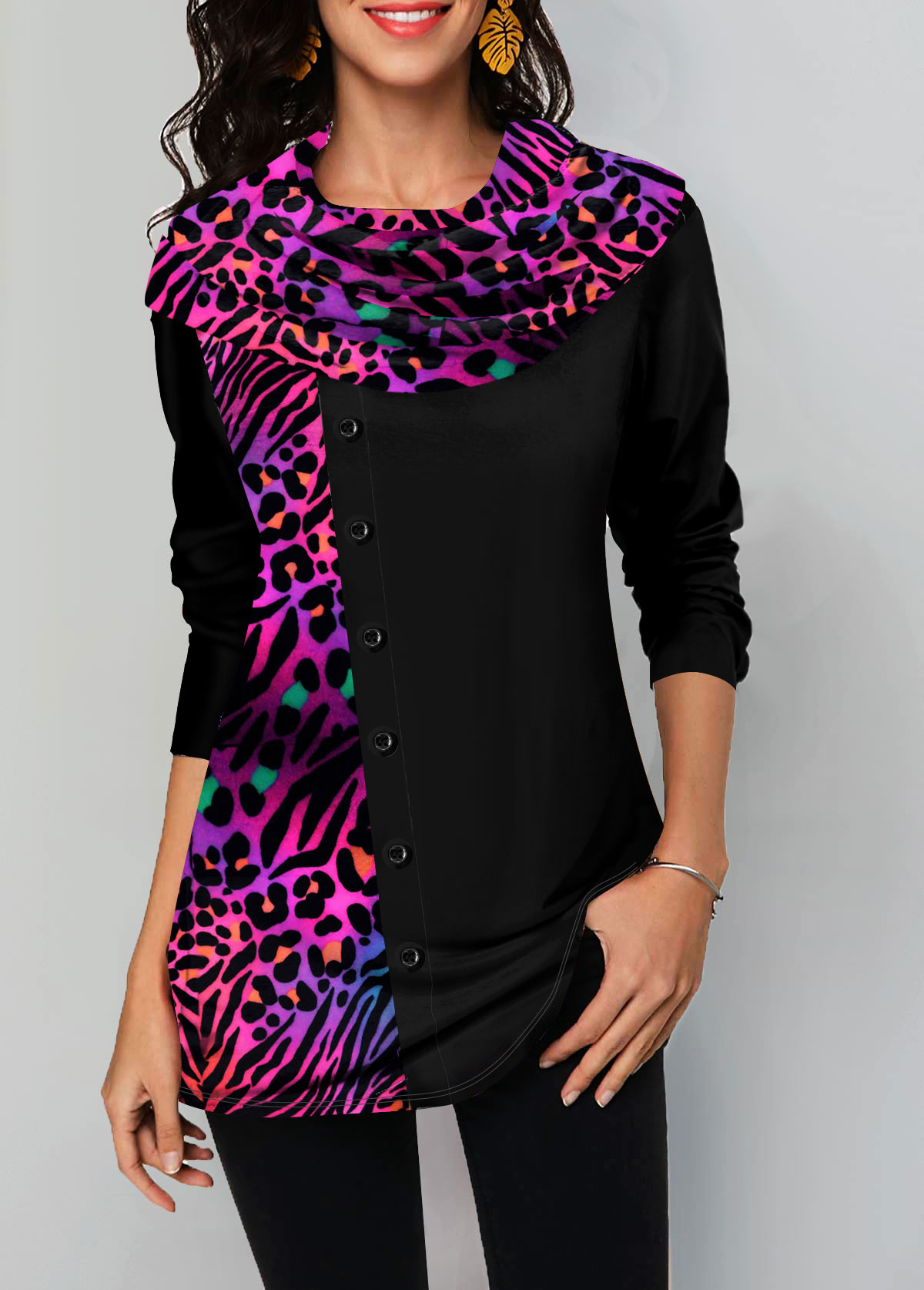 Leopard Print Button Embellished Long Sleeve T Shirt