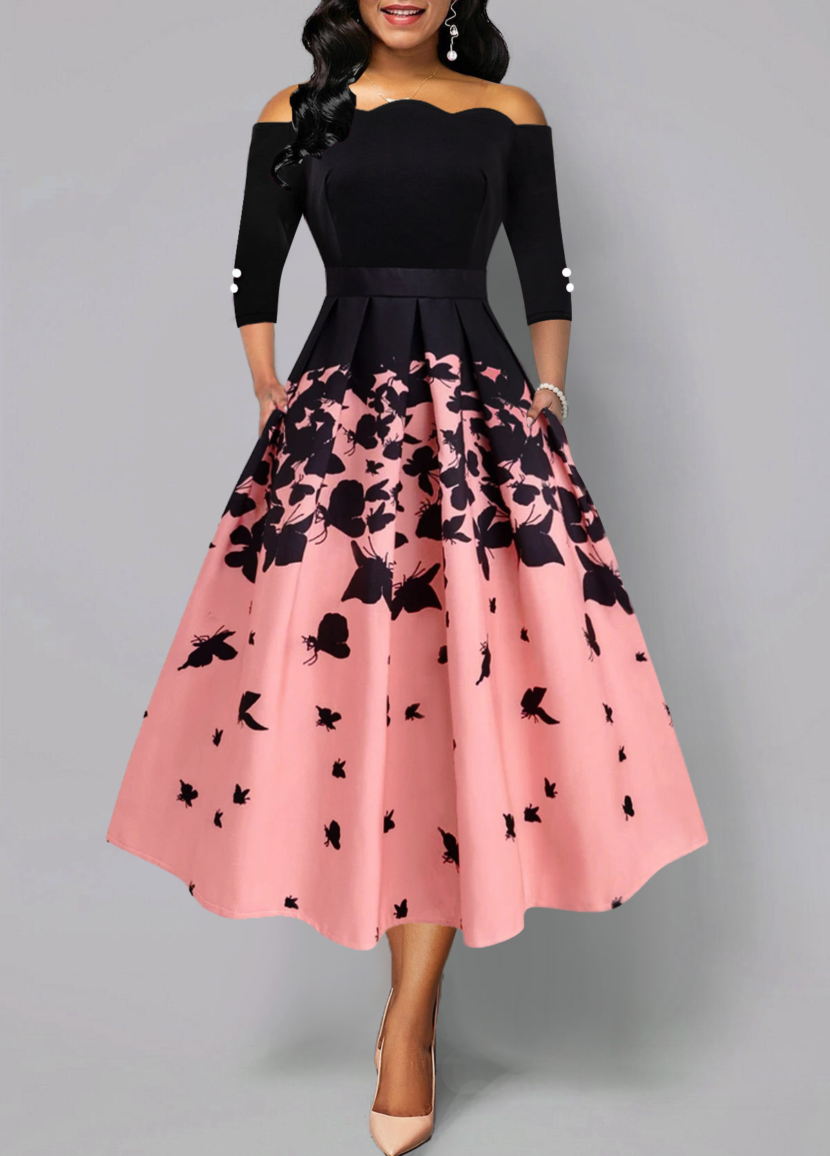Butterfly Print Scalloped Hem Button Detail Dress