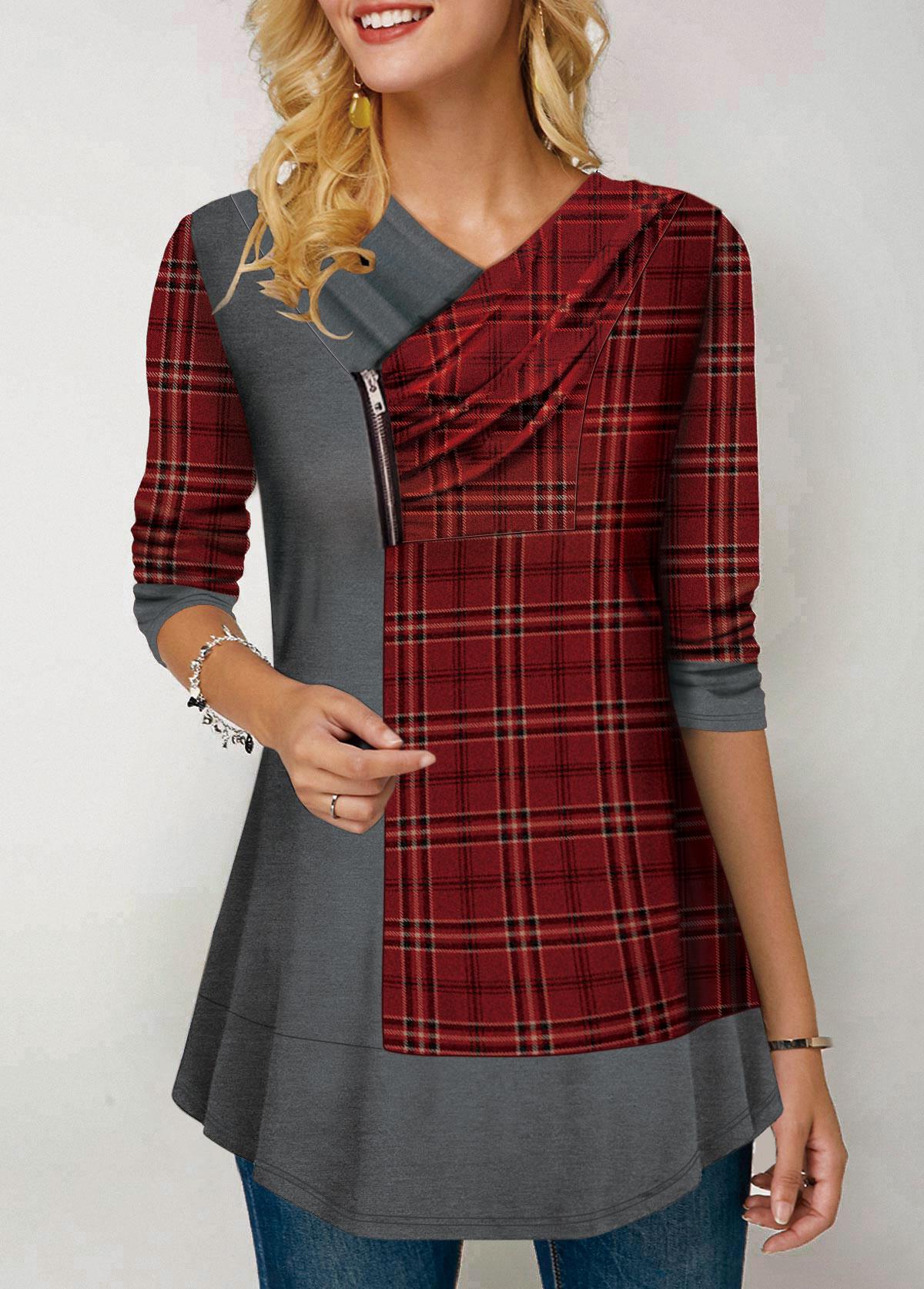 Plaid Print Zipper Deatil Long Sleeve T Shirt