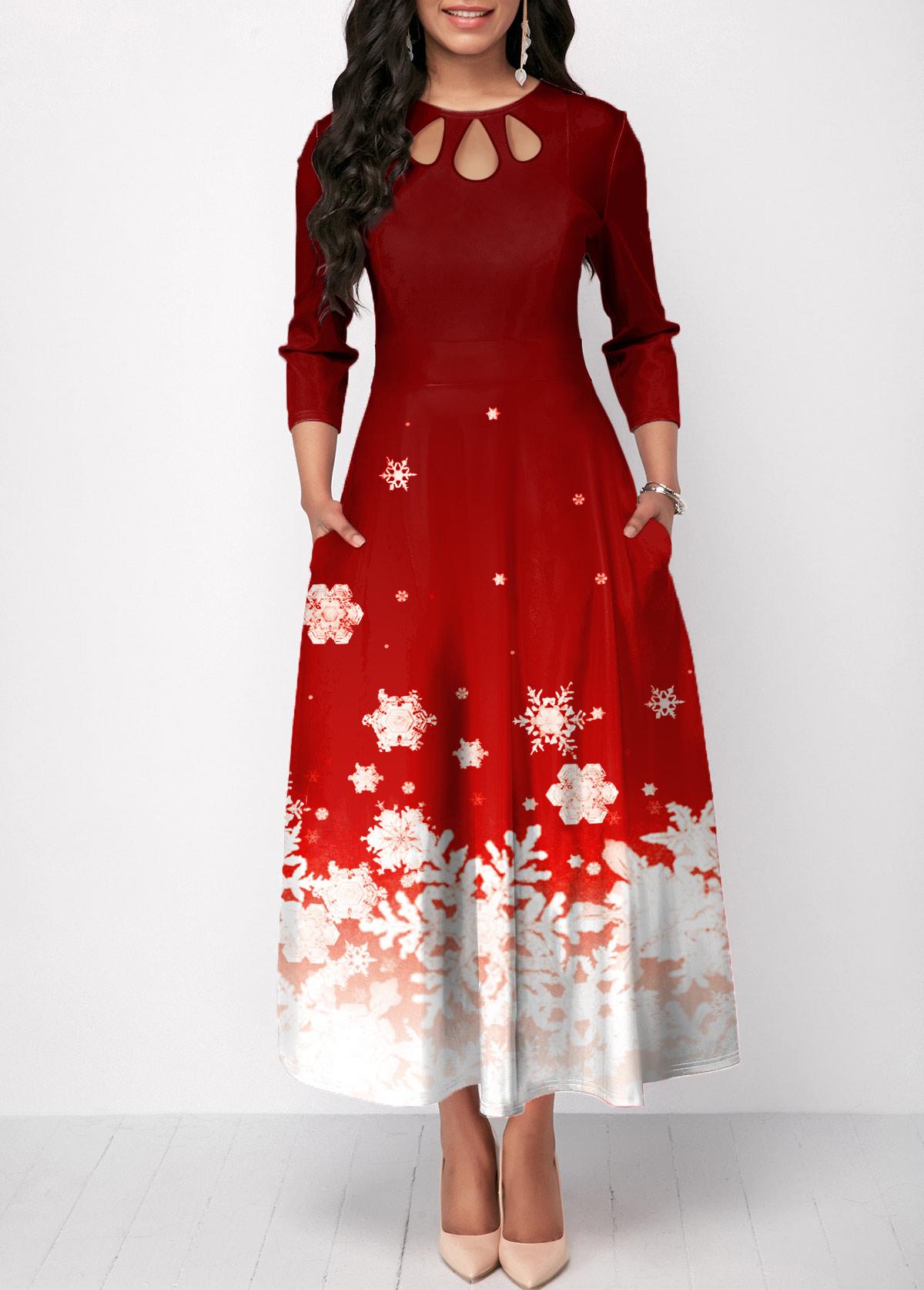 Christmas Snowflake Print Cutout Front Maxi Dress