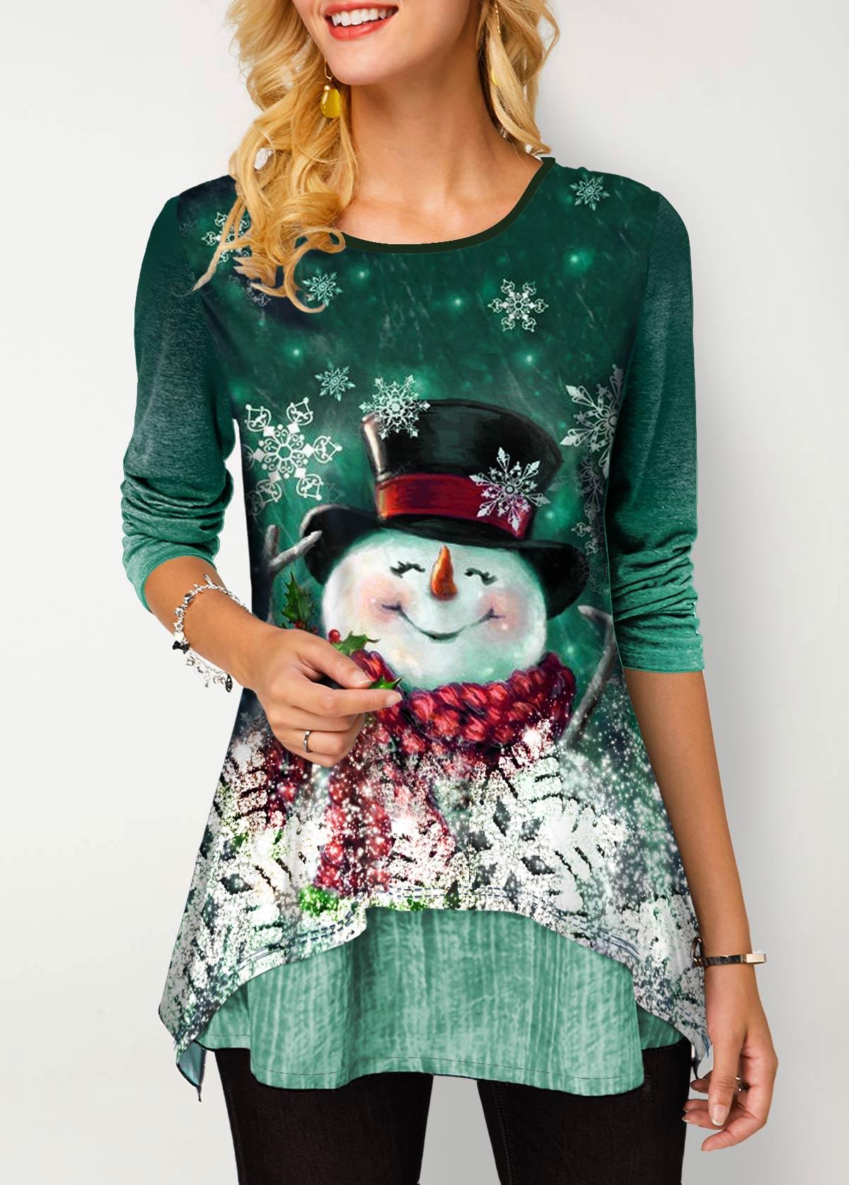 Round Neck Christmas Snowman Print Gradient T Shirt