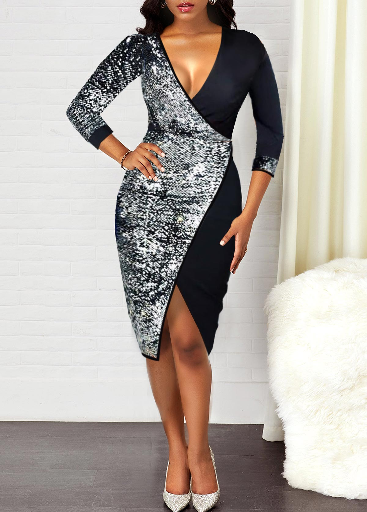 Sequin Panel Plunging Neck Asymmetric Hem Dress