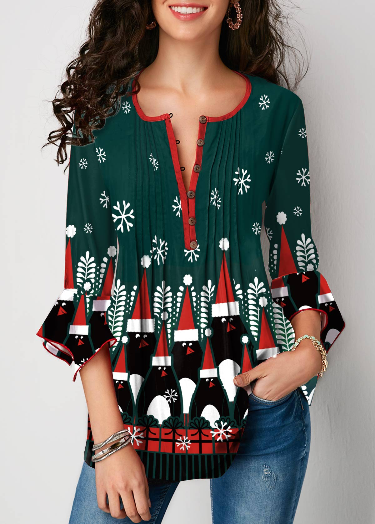 Christmas Print Flare Cuff Button Front Blouse
