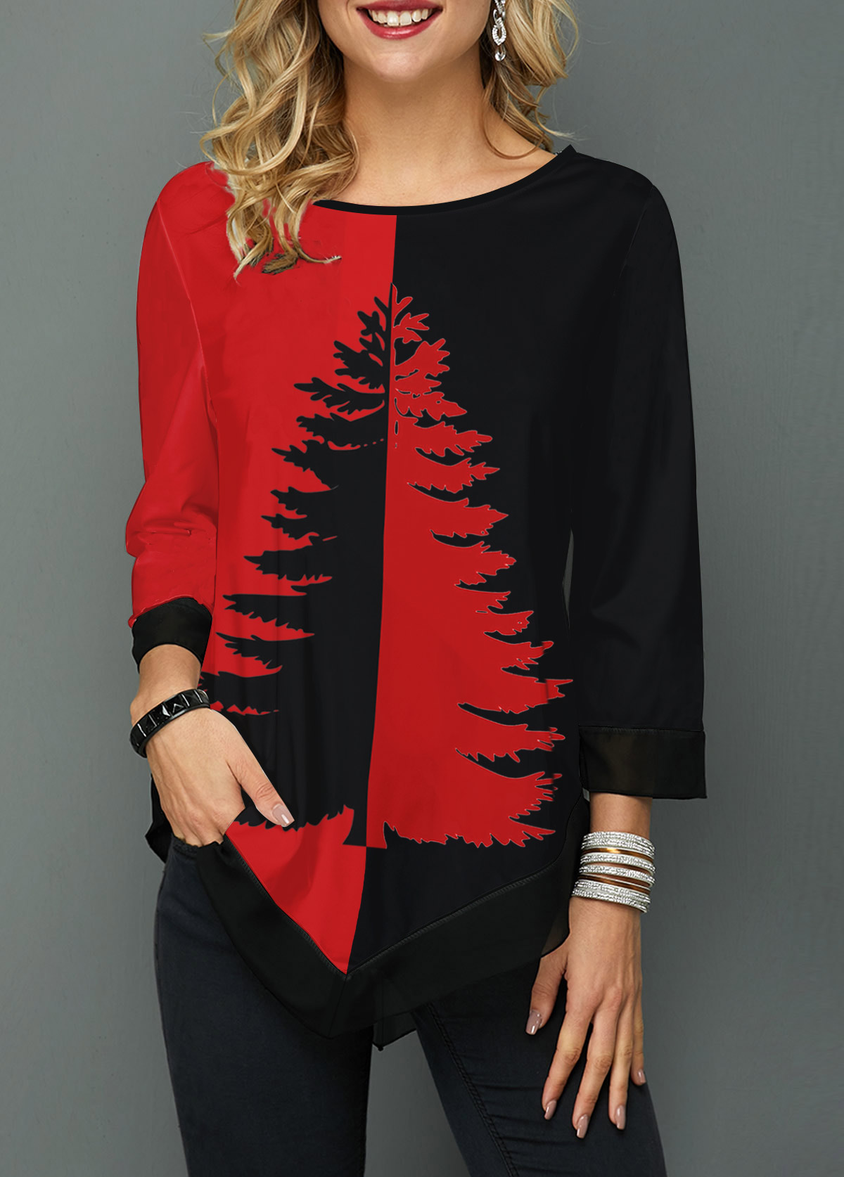 Asymmetric Hem Round Neck Tree Print T Shirt