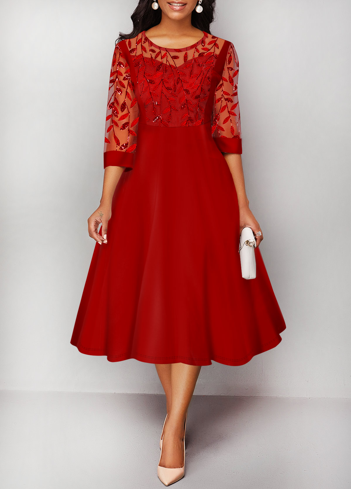 Embroidered Mesh Panel Round Neck Red Dress
