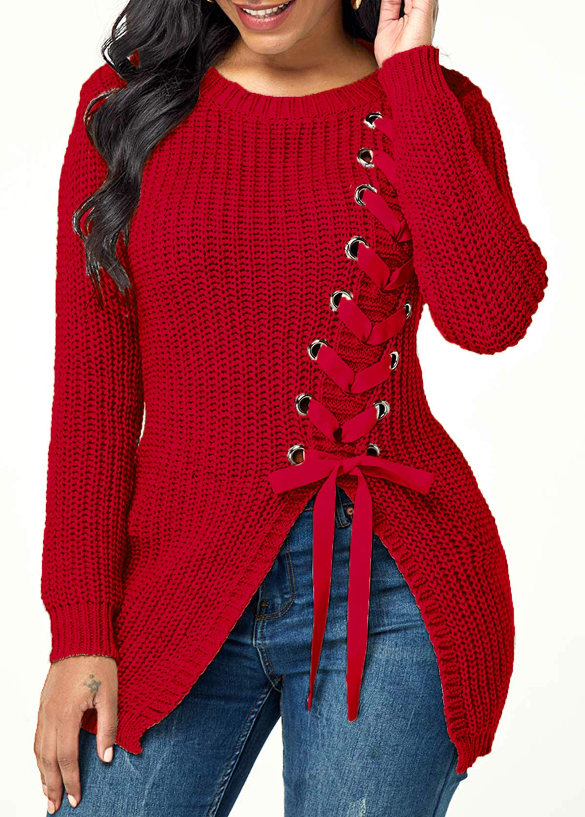 Lace Up Split Front Long Sleeve Sweater