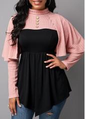 Cape-Shoulder-Asymmetric-Hem-Button-Detail-Sweatshirt
