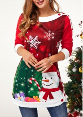 Christmas-Print-Contrast-Piping-Button-Embellished-Sweatshirt