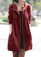 Hooded-Collar-Zipper-Closure-Side-Pocket-Coat