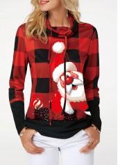 Santa-Claus-and-Plaid-Print-Drawstring-Detail-Sweatshirt