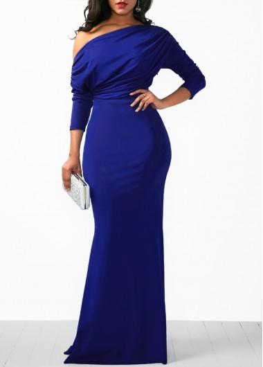 Royal Blue Single Shoulder Mermaid Evening Party Dress Three Quarter Sleeve Blue Mermaid Dress - L