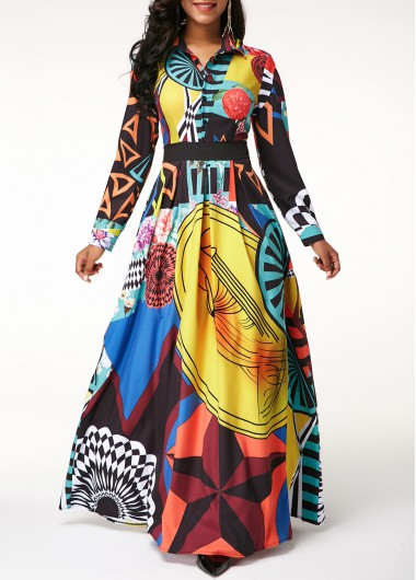 Colorful Printed Long Sleeve Maxi Dress Button Up Turndown Collar Printed Long Sleeve Dress - L