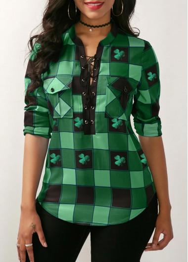 Lace Up Front Green Pockets Front Long Sleeve Plaid Shirt Shamrock Print St Patricks Day Shirts - L